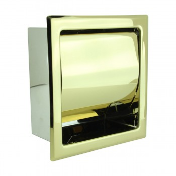 Recessed Toilet Paper Holder Stainless Steel Brass PVD finish