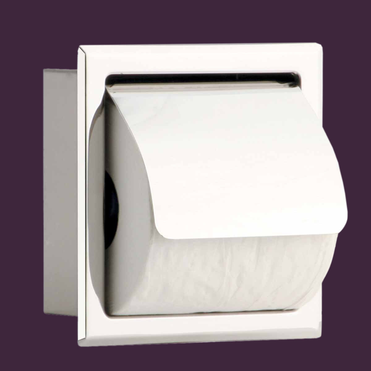 Recessed Toilet Tissue Holder With Lid Stainless Steel