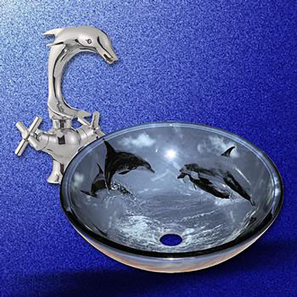 U003cPREu003eBathroom Vessel Sink Blue Tempered Glass Dolphin Design And Faucet  Combou003c/ ...