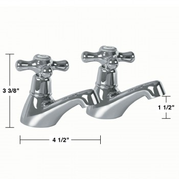 spec-<PRE>Pair Single Tap Faucet Hot and Cold Chrome Cross Handles </PRE>