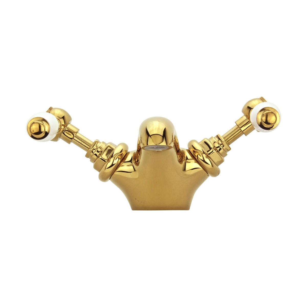 Bathroom Sink Faucet Single Hole Double Levers Gold PVD Faucets Bathroom Faucets Single Hole Faucet
