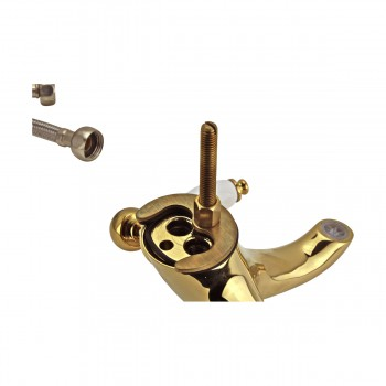 Bathroom Sink Faucet Single Hole Double Levers Gold PVD Faucets Bathroom Faucets Single Hole Faucet