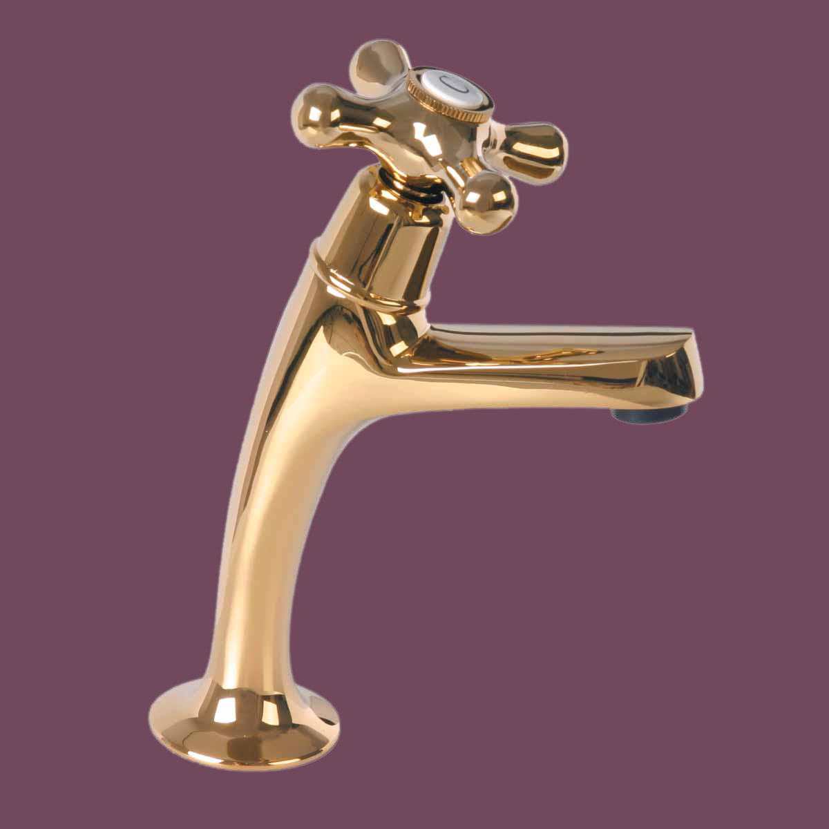 Pair Single Tap Faucet Hot & Cold Gold PVD Cross Handles