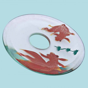 <PRE>Replacement Waterfall Faucet Glass Disc Tray Plate Koi Fish </PRE>zoom2