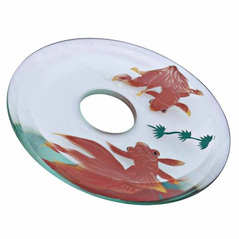 Painted Koi Fish on Clear Glass Waterfall Faucet Interchangeable Disk