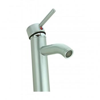 <PRE>Satin Nickel Single Hole Bathroom Sink Faucet 12&quot; H </PRE>
