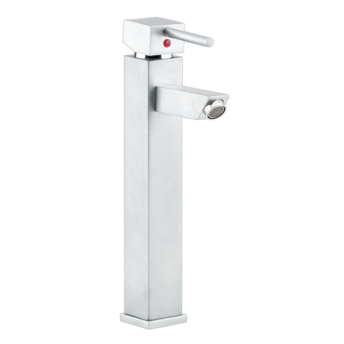 Bathroom Faucet Square Satin Nickel Single Hole 1 Handle