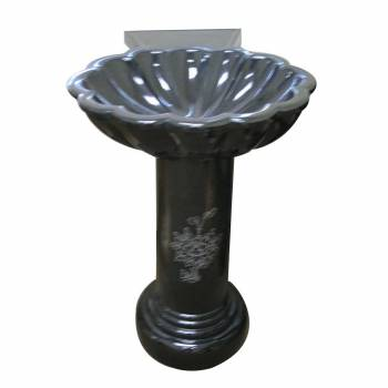 Pedestal Black Granite Hand Carved Granite Pedestal Sink13988grid