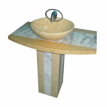 Luxury Pedestal Sink Marble Beige/Multi Marble Hand Carved 13994grid