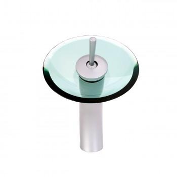 <PRE>Bathroom Waterfall Faucet Satin Nickel 12inchH Green Disk </PRE>zoom3