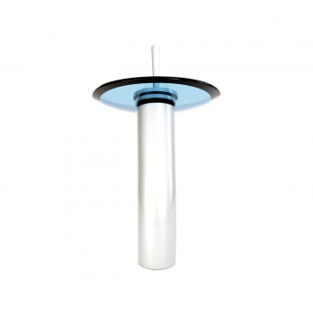 <PRE>Bathroom Waterfall Faucet 12inch Tall Satin Nickel Blue Glass </PRE>zoom5