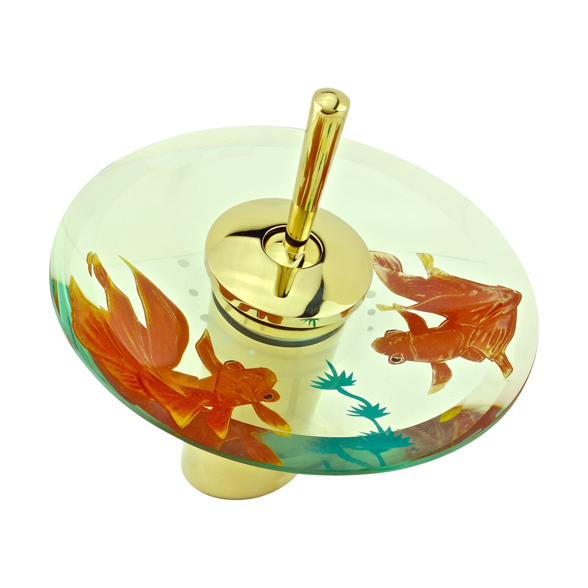 Waterfall Faucet Cast Brass PVD 7 H Koi Fish Glass Glass plate Waterfall Sink Faucet Waterfall Bathroom Faucets Glass Disk Faucet