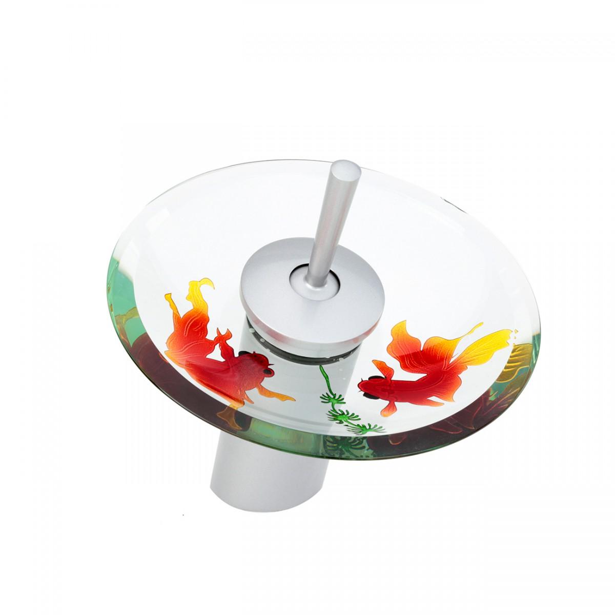 Waterfall Faucet Cast Brass Satin Nickel 7 H Short Koi Fish Glass plate Waterfall Sink Faucet Waterfall Bathroom Faucets Glass Disk Faucet