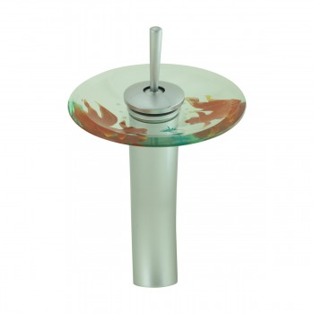 <PRE>Bathroom Waterfall Faucet 12&quot; Tall Satin Nickel Glass Disc </PRE>