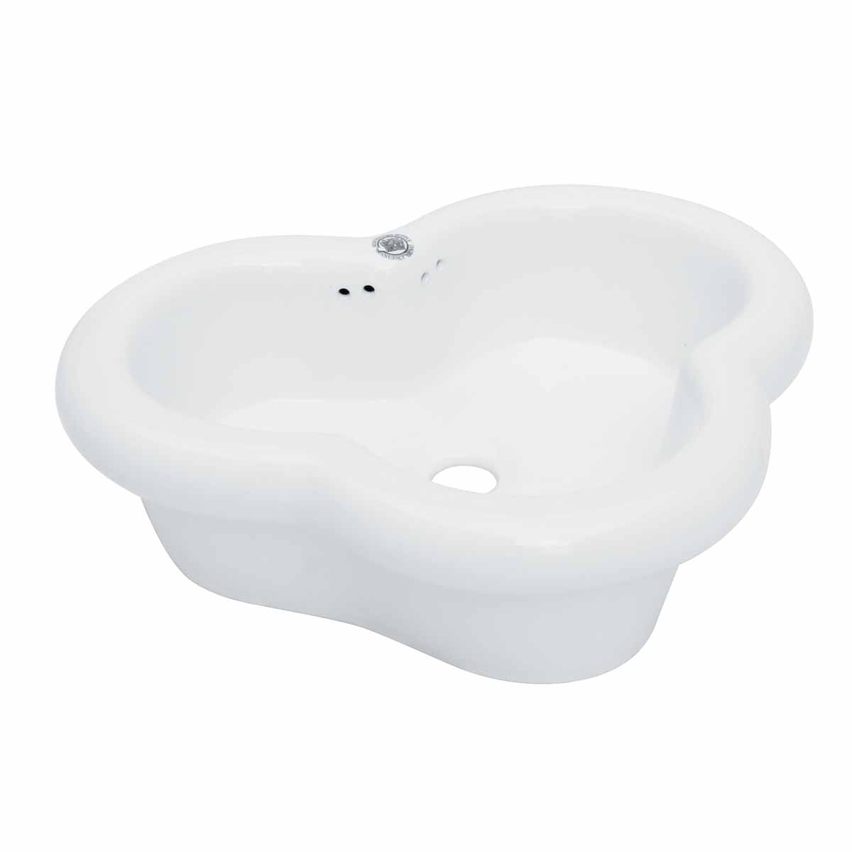 Bathroom Vessel Sink Heart White China Overflow