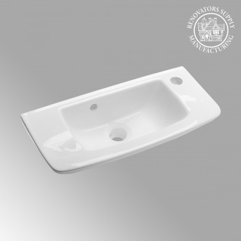 Rectangular Bathroom Wall Mount Sink in White Porcelain Renovators Supply 20 White Gloss Glossy Small Mini Tiny Compact Space Saving Narrow Modern Wall Mount Sink RV Bathroom Bath Room Lavatory Commode