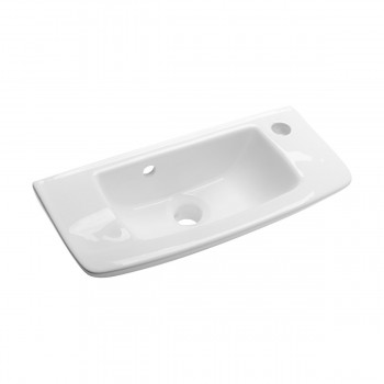 Wall Mount Small Bathroom Sink Porcelain White Overflow 14229grid