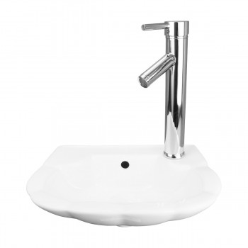 Renovator's Supply Small Hung White Periwinkle Wall Mount Bathroom Sink 14231grid