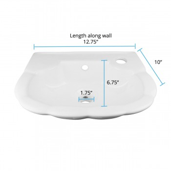 spec-<PRE>Renovator's Supply Small Hung White Periwinkle Wall Mount Bathroom Sink </PRE>