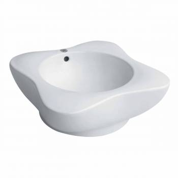 Renovators Supply White Bathroom Vessel Above Counter Sink Buttercup Overflow bathroom vessel sinks Countertop vessel sink Bathroom Vessel Sink