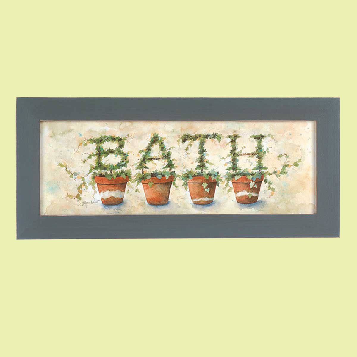 Wall Hanging Print Crackle Wood Ivy Topiary 8.5\