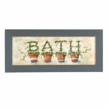 Wall Hanging Print Crackle Wood Ivy Topiary  8.5