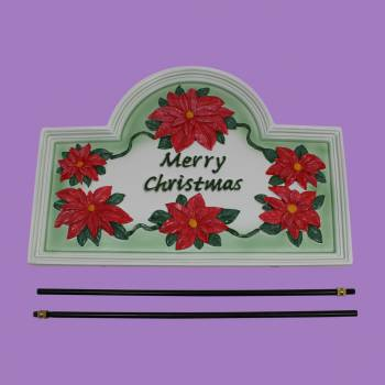 <PRE>Plaque White Cast Metal Christmas With Stand </PRE>zoom2