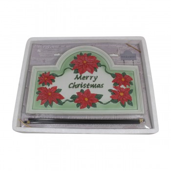 <PRE>Plaque White Cast Metal Christmas With Stand </PRE>zoom3