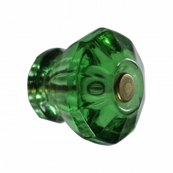 Cabinet Knob Emerald Green Glass 1 1/8