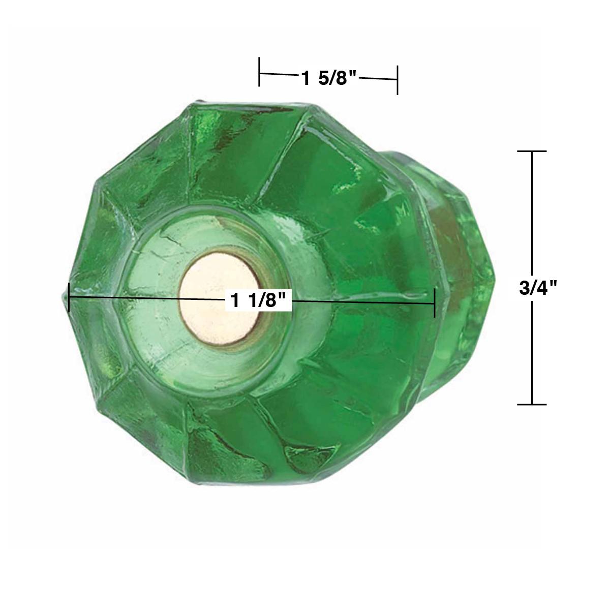 """<PRE>Cabinet Knob Emerald Green Glass 1 1/8"""" Dia </PRE>"""