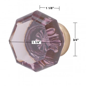 "spec-<PRE>Cabinet Knob Violet Glass Old Town 1 1/4"" Dia W/ Brass Back </PRE>"