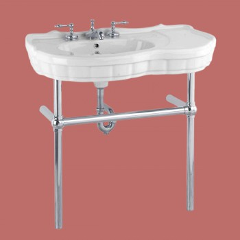 Southern Belle Chrome Bistro Frame White 8 in. widespread - Console Sinks, console sink info & unique accessories, quantity discounts on Console Sinks, pedestal sinks, bathroom fixtures, bathroom sinks, sink faucets & free shipping by Renovator's Supply.