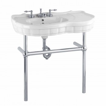 White Console Sink China Southern Belle with Chrome Bistro Legs14317grid