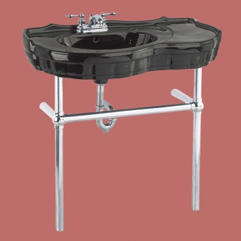 <PRE>Black Console Sink Vitreous China Southern Belle with Chrome Bistro Legs</PRE>zoom2