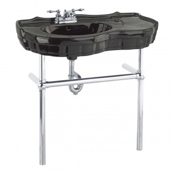 Black Console Sink Vitreous China Southern Belle with Chrome Bistro Legs14320grid