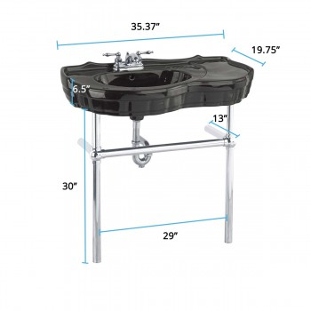 spec-<PRE>Black Console Sink Vitreous China Southern Belle with Chrome Bistro Legs</PRE>