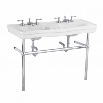Belle Epoque Double Deluxe Chrome Bistro Frame White 8 in. widespread - Console Sinks, console sink info & unique accessories, quantity discounts on Console Sinks, pedestal sinks, bathroom fixtures, bathroom sinks, sink faucets & free shipping by Renovator's Supply.