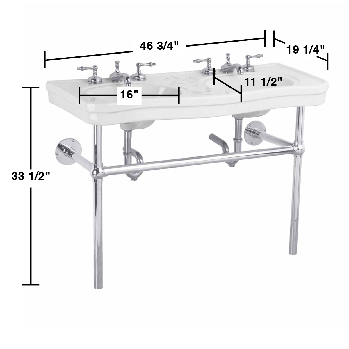 Spacious Bathroom Console Sink With Chrome Legs The