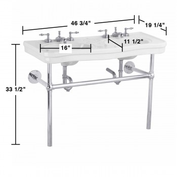 spec-<PRE>Bathroom Console Deluxe Double Sink White China Chrome Leg </PRE>