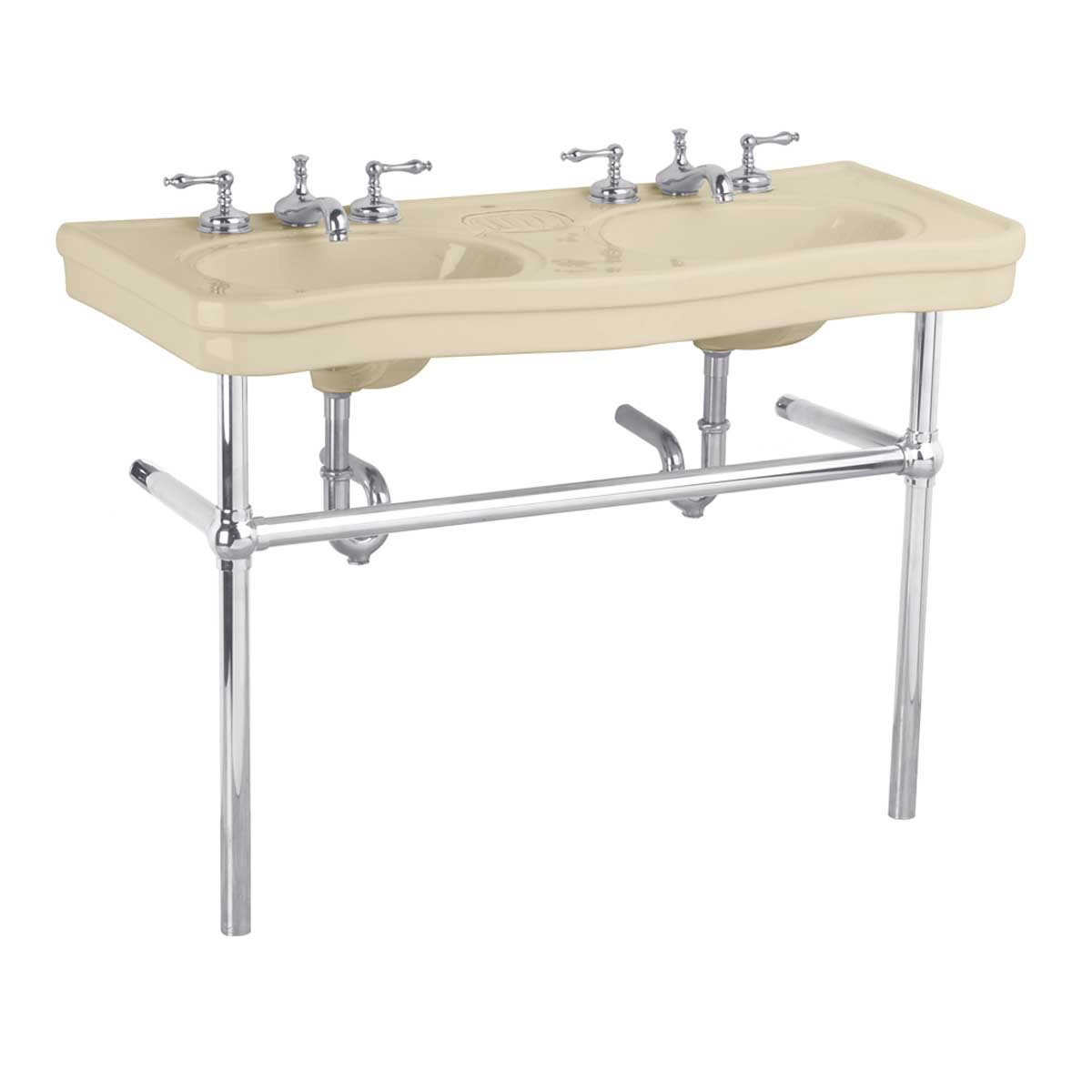... <PRE>Bathroom Console Deluxe Double Sink Bone China Chrome ...