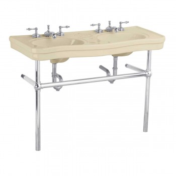 Bathroom Biscuit Console Sink Deluxe Double with Chrome Bistro Legs Porcelain Double Console Sink Console Sink With Metal Legs Console Sink Bathroom