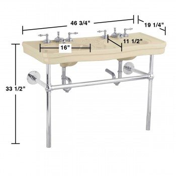 spec-<PRE>Bathroom Biscuit Console Sink Deluxe Double with Chrome Bistro Legs</PRE>