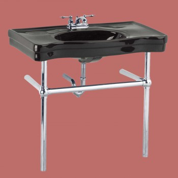 Belle Epoque Deluxe Chrome Bistro Frame Black 4 in. Centerset - Console Sinks, console sink info & unique accessories, quantity discounts on Console Sinks, pedestal sinks, bathroom fixtures, bathroom sinks, sink faucets & free shipping by Renovator's Supply.