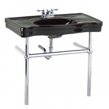 Black Console Sink Belle Epoque Deluxe with Chrome Bistro Legs14327grid