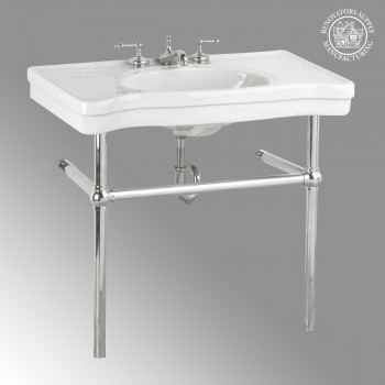 Belle Epoque Deluxe Chrome Bistro Frame White 8 in. Widespread - Console Sinks, console sink info & unique accessories, quantity discounts on Console Sinks, pedestal sinks, bathroom fixtures, bathroom sinks, sink faucets & free shipping by Renovator's Supply.