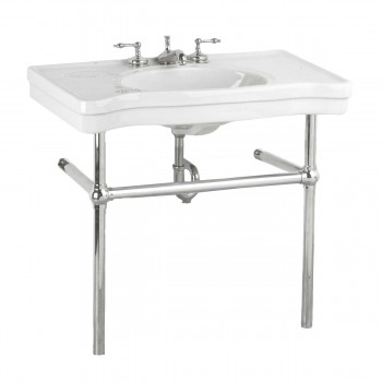 White Console Sink Belle Epoque Deluxe with Chrome Bistro Legs14329grid