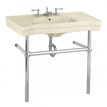 Biscuit Console Sink Belle Epoque Deluxe with Chrome Bistro Legs Porcelain Console Sink Glossy Console Sinks Bathroom Console Sink