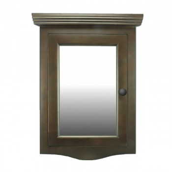 Corner Medicine Cabinet Dark Brown Oak Hardwood Wall Mount Recessed Mirror