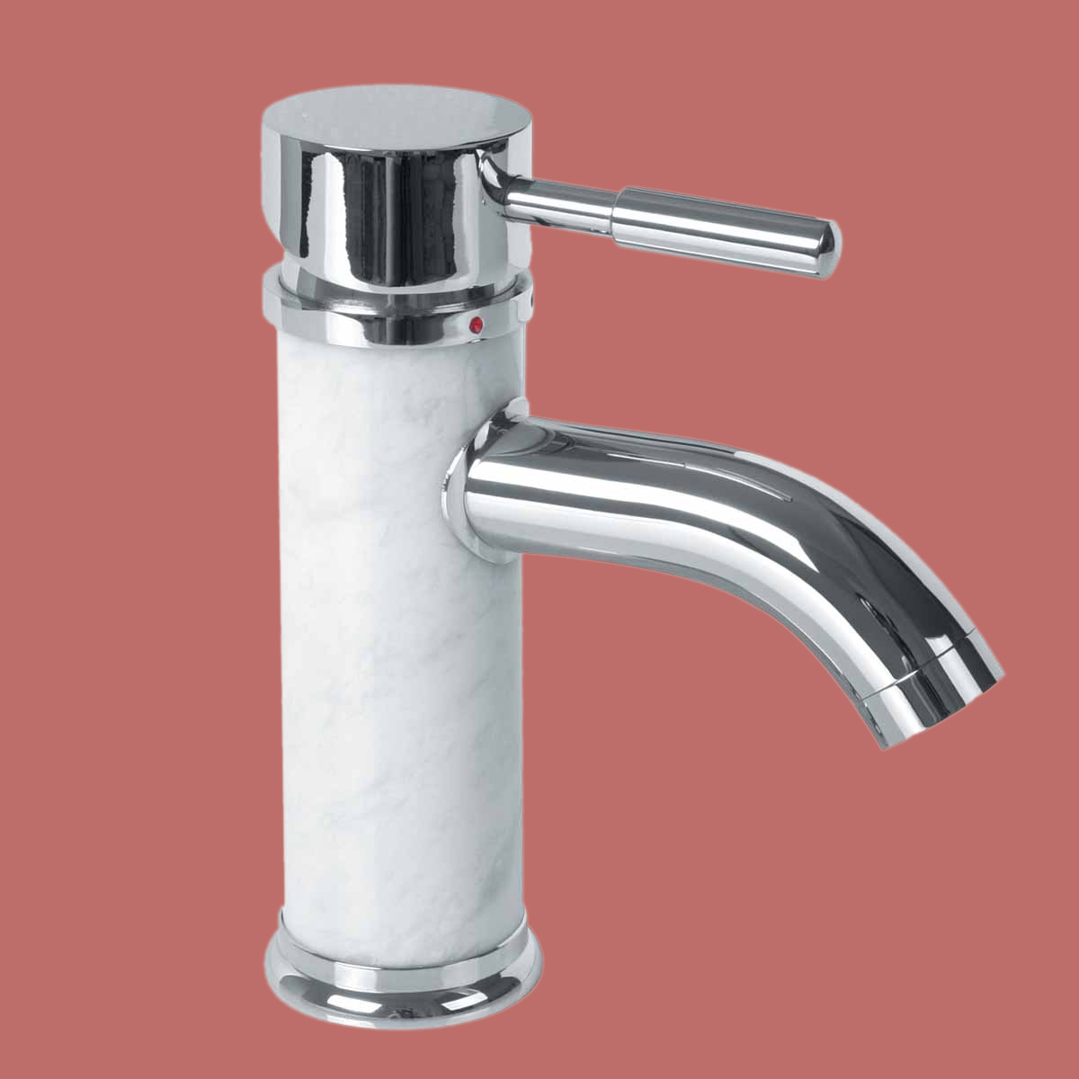 Bathroom White Marble Faucet Chrome Single Hole 1 Handle