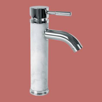 spec-<PRE>Bathroom White Marble Faucet Chrome Single Hole 1 Handle </PRE>